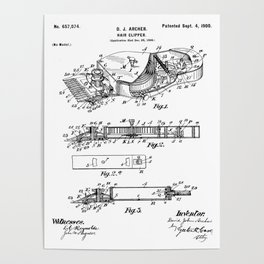Barber Hair Clippers Patent - Barber Shop Art - Black And White Poster