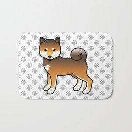 Red Sesame Shiba Inu Cute Cartoon Dog Bath Mat