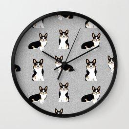 TriCorgis - Cute corgi, dog pet, corgi decor, corgi pillow, corgi bedding, corgi pattern, cute corgi Wall Clock