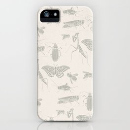 Insectology:  Insect Scatter on White Botanical Stencil Print iPhone Case