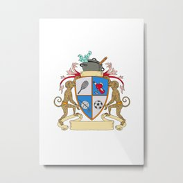 Monkey Money Cook Pot Sports Wine Coat of Arms Drawing Metal Print