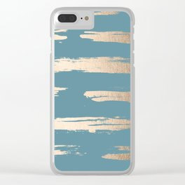 Abstract Painted Stripes Gold Tropical Ocean Blue Clear iPhone Case