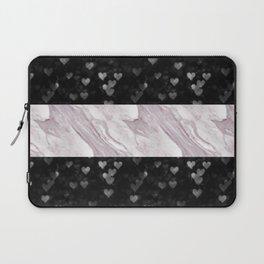 Pink Marble & Black Bokeh Digital Design | Stripes | Pattern Laptop Sleeve