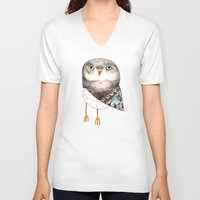 nursery V-neck T-shirts featuring Owl by Ashley Percival by Ashley Percival illustration