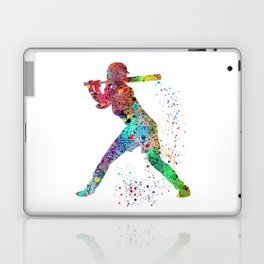 Baseball Softball Player Sports Art Print Watercolor Print Girl's softball Laptop & iPad Skin