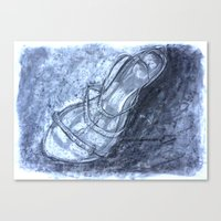 shoe Canvas Prints featuring Shoe by Cassandra Adsett