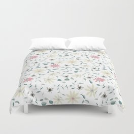 Floral Bee Print Duvet Cover