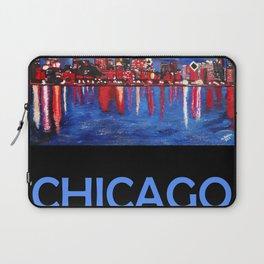 Retro Travel Poster Chicago Illinois Laptop Sleeve