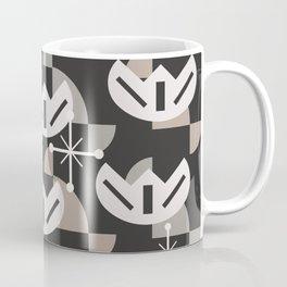 Atomic Era Funky Flowers (Black) Coffee Mug