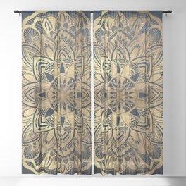 Chic Modern Navy Blue Gold Mandala Sheer Curtain