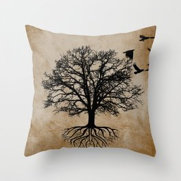 Tree of Life - Crow Tree A823 Throw Pillow