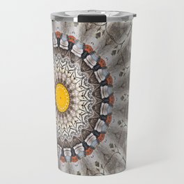 Lovely Healing Mandalas in Brilliant Colors: Black, Ecru, Gray, Silver, Orange, and Yellow Travel Mug