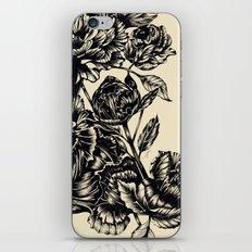 Peonies, black & white iPhone Skin