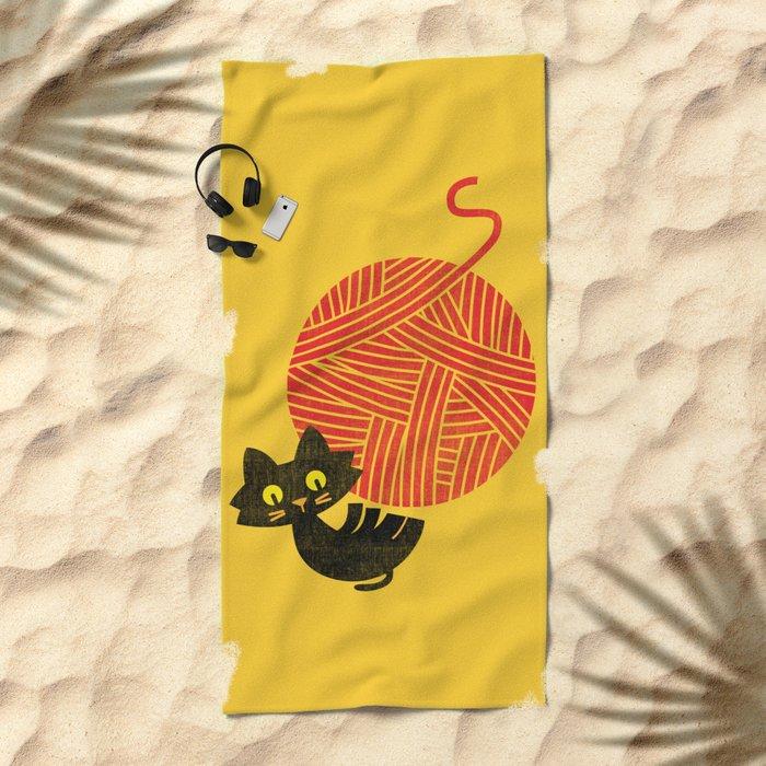 Fitz - Happiness (cat and yarn) Beach Towel