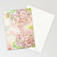 Pink Hydrangeas on a soft pastel abstract background Stationery Cards