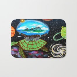 Cosmic Turtle Journey Through Space Bath Mat