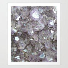 Sparkling Clear Light Purple Amethyst Crystal Stone Art Print