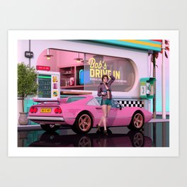 80s Drive-in Art Print