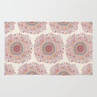 mandala Area & Throw Rugs featuring Sunflower Mandala by Janet Broxon