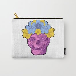 Cute Pink Skull with Flower Crown Carry-All Pouch