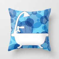 toilet Throw Pillows featuring Toilet - bath by Raquel Basso