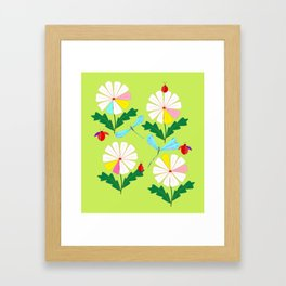 Green Spring Damselflies, Lady Bugs and Daisies Framed Art Print