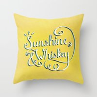 whiskey Throw Pillows featuring Sunshine & Whiskey by Yellow 13