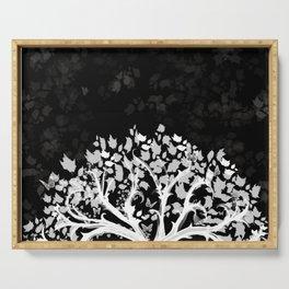 The Zen Tree - White on Black Serving Tray