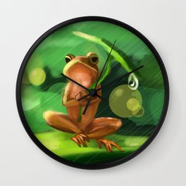 Frog cute in the rain Wall Clock