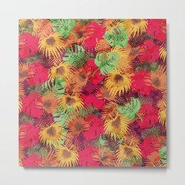 Seamless Pattern of Tropical Leaves Metal Print