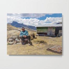 85 years old, poor, Peruvian male. Metal Print