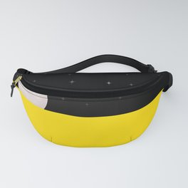 Black night with stars, moon, and yellow sea Fanny Pack