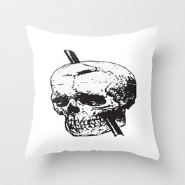 Frontal Lobotomy Skull Of Phineas Gage Vector Isolated Throw Pillow