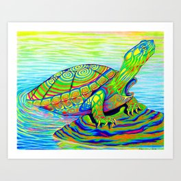 Colorful Psychedelic Neon Painted Turtle Rainbow Turtle Art Print