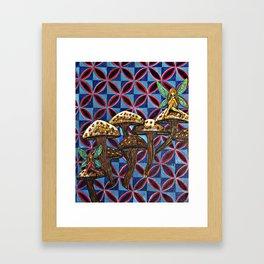 Mushrooms with Fairies Framed Art Print