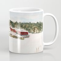 finland Mugs featuring Finland village by Nadezhda Shoshina