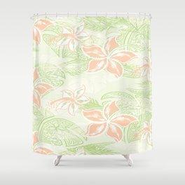 Coral Hibiscus Jungle Print Shower Curtain