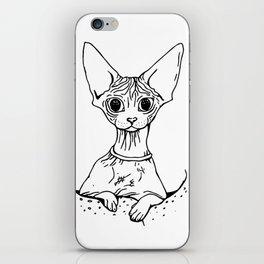 Big Eyed Pretty Wrinkly Kitty - Sphynx Cat Illustration - Nekkie - Cat Lover Gift iPhone Skin