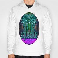zodiac Hoodies featuring Aquarius Zodiac by CAP Artwork & Design