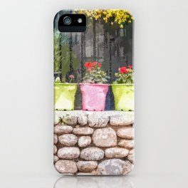 Vivid pots with colorful flower in front of a tiny and beauty house iPhone Case