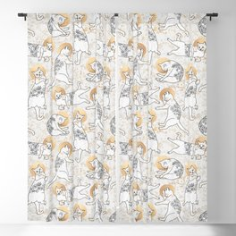 Floral Cats Blackout Curtain
