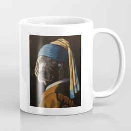 WEIMARANER WITH PEARL EARRING Coffee Mug