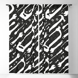 Black and White Tools Blackout Curtain