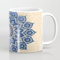 navy Mugs featuring ókshirahm sky mandala by Peter Patrick Barreda