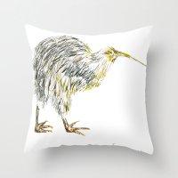 kiwi Throw Pillows featuring Kiwi by Noelia Moitié