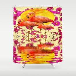 TROPICAL FLAMINGOS FUCHSIA FLORAL MOON ART Shower Curtain