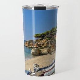 Olhos d'Agua beach in winter, Portugal Travel Mug