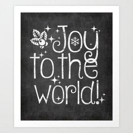 Joy to the world chalkboard christmas lettering Art Print