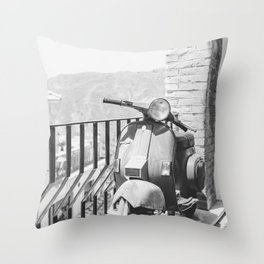 Vintage Vespa black & white   Italy Sicily travel scooter mountain view photography Throw Pillow