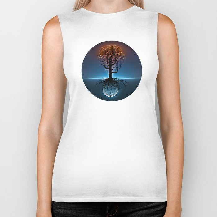 Tree, Candles, and the Moon Biker Tank